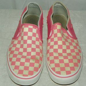 Vans Off The Wall Pink and White Checkered Shoes
